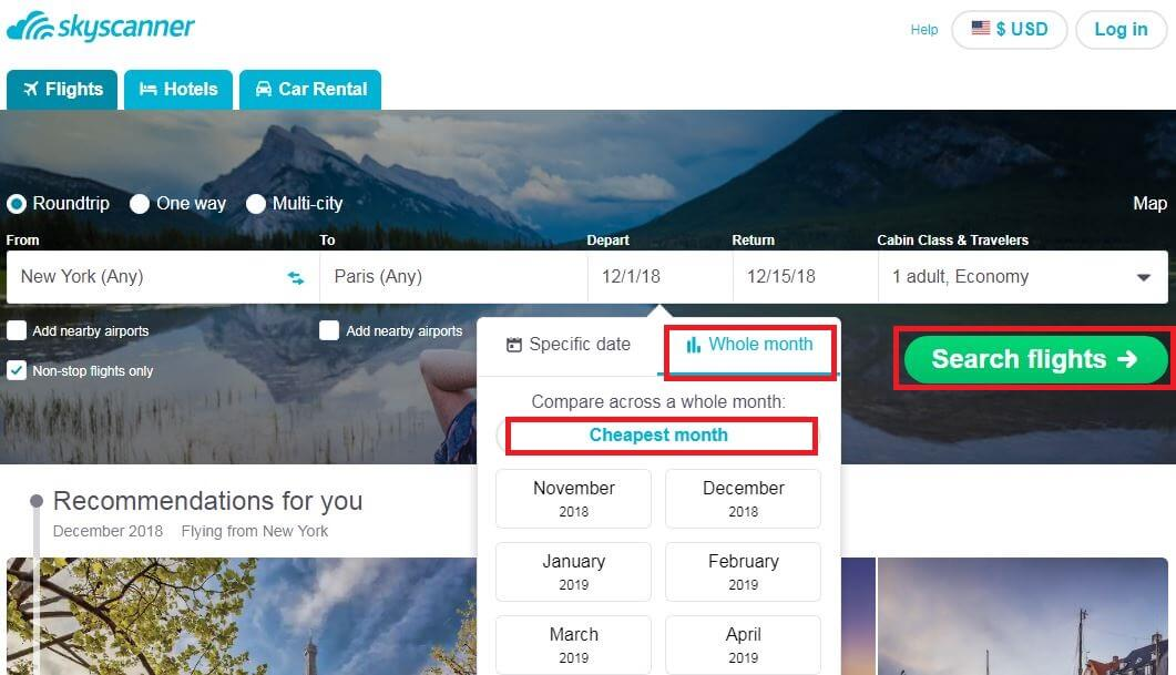 Skyscanner-Tutorial-Monthly-View