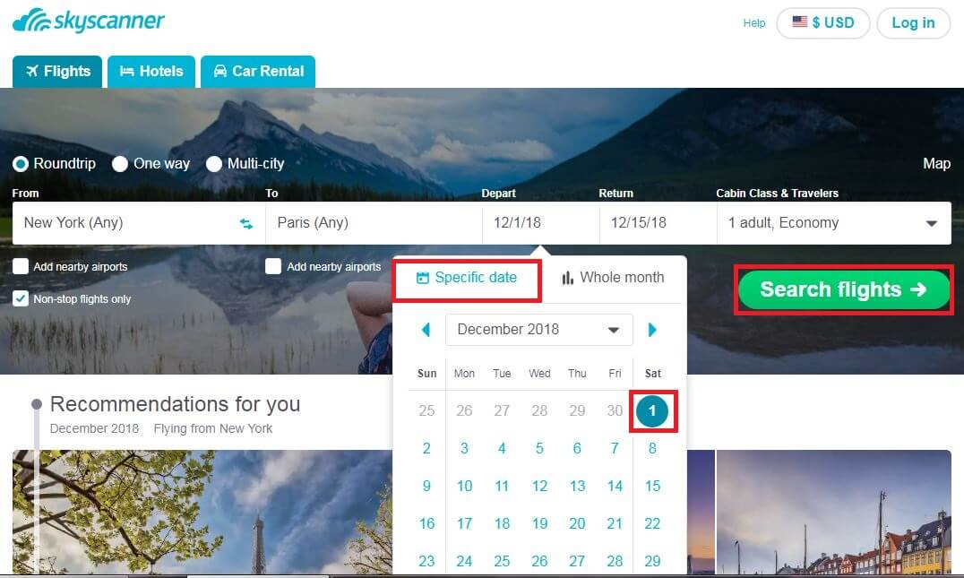 Skyscanner-Tutorial-Specific-Date